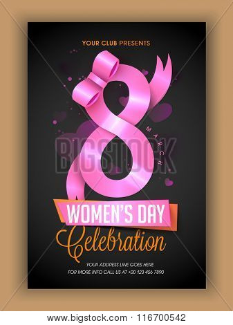 Creative Template, Banner or Flyer design with stylish text 8 March, made by glossy pink ribbon for Happy Women's Day celebration.