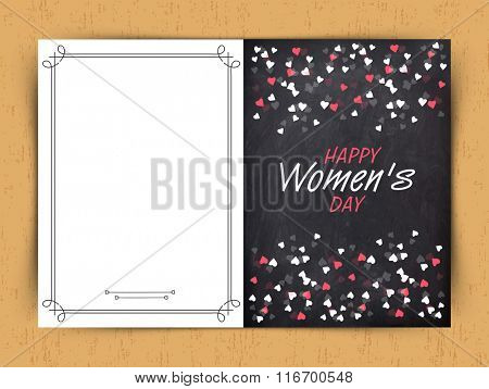 Beautiful hearts decorated greeting card design for Happy Women's Day celebration.
