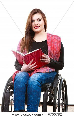 Woman Invalid Girl On Wheelchair Reading