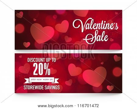 Sale website header or banner set with 20% discount offer for Happy Valentine's Day celebration.