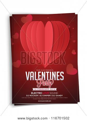 Happy Valentine's Day Party celebration Flyer, Banner or Pamphlet with creative heart.