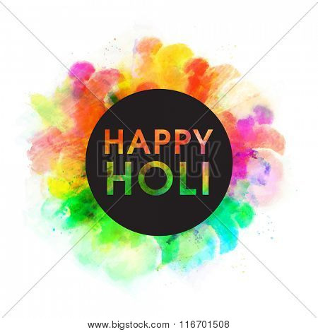 Stylish text Happy Holi on colourful splash decorated background for Indian Festival of Colours celebration.