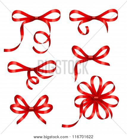 Collection Red Gift Bows Isolated