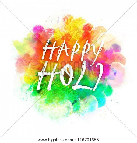 Stylish text Happy Holi on colourful splash and floral design decorated background for Indian Festival of Colours celebration.