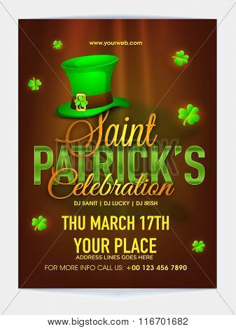 Glossy Pamphlet, Banner or Flyer design with date and place details for Happy St. Patrick's Day Party celebration.