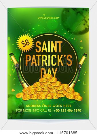 Creative Pamphlet, Banner or Flyer design with golden coins for St. Patrick's Day Party celebration.