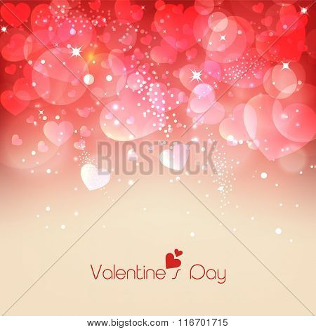 Shiny hearts decorated elegant greeting card design for Happy Valentine's Day celebration.