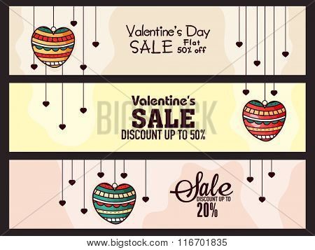 Sale website headers or banners set with best discount offers for Happy Valentine's Day celebration.