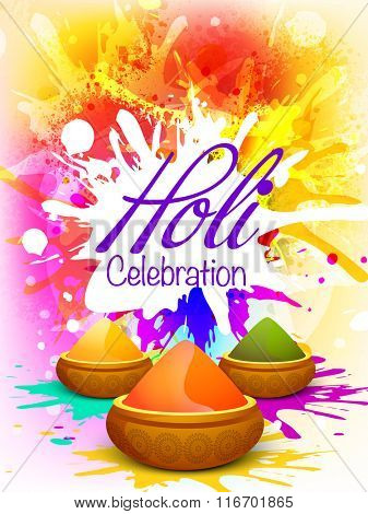Colourful splash decorated Flyer, Banner or Pamphlet design with dry colours for Indian Festival, Happy Holi celebration.