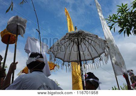 Balinese-Hindu funeral procession in Ubud Bali Indonesia