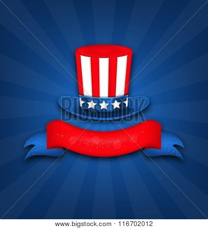 Abstract Background with Uncle Sam's Hat