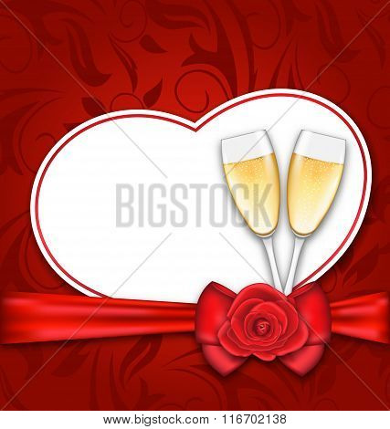 Celebration Card Heart Shaped for Happy Valentines Day