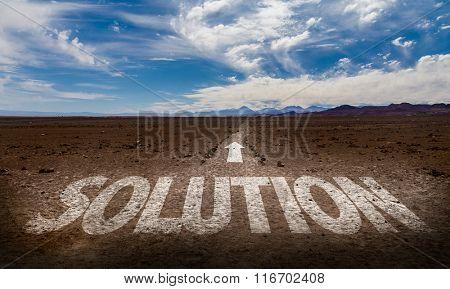 Solution written on desert road