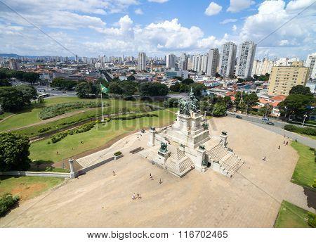 Aerial View of Monument of independence in Ipiranga, Sao Paulo, Brazil