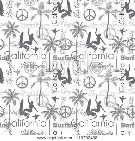 Vector Surfing California Gray Seamless Pattern Surface Design With Surfing Women, Palm Trees, Peace