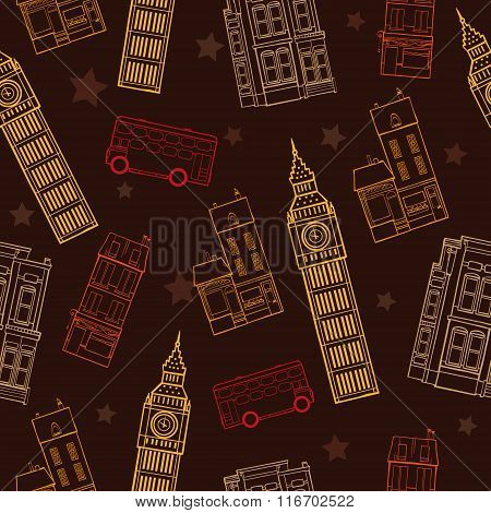 Vector London Symbols Brown Seamless Pattern With Big Ben Tower, Double Decker Bus, Houses and Stars