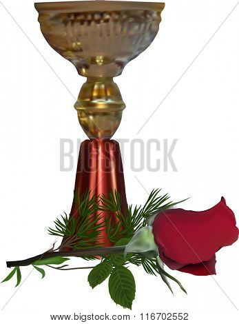 illustration with champion cup and red rose isolated on white background