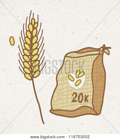 bag of wheat and cereal plant