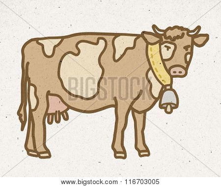 natural mountain cow with bell