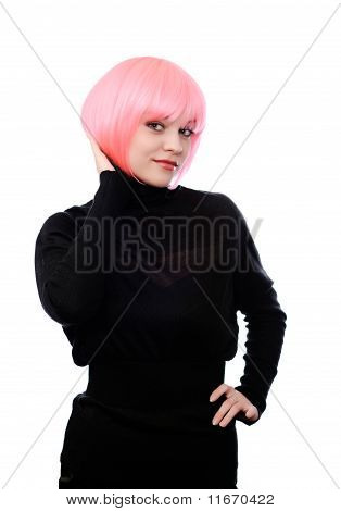 Woman With Pink Hairs