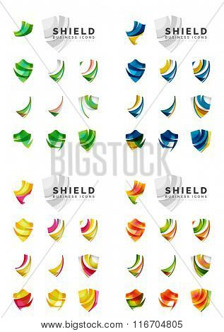 Set of company logotype branding designs, shield protection concept icons