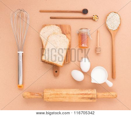 Baking Equipment Make Bread Wheat Grains And Cereals On Wooden Background