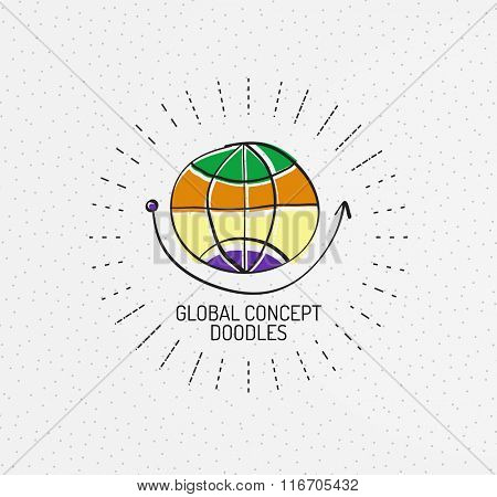 Vector multicolored hand-drawn doodles, icon, stamp. Globe