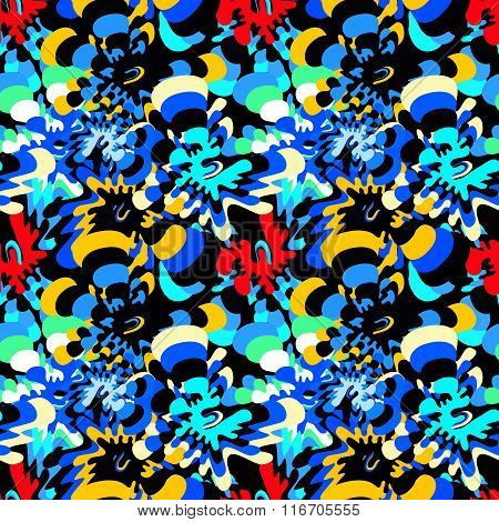Brightly Colored Abstract Flowers On A Black Background Seamless Pattern