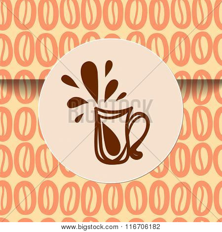Coffee cup sticker sign on seamless wrapping. There is the tile in Swatch panel.