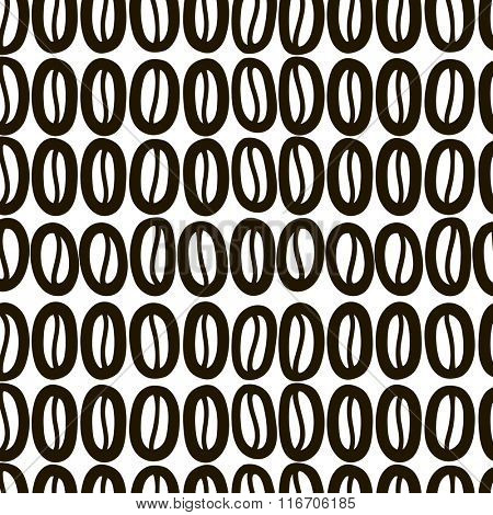 Coffee beans seamless background. Vector. Black and white.