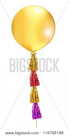 Gold big latex balloon with tassel. Vector illustration.