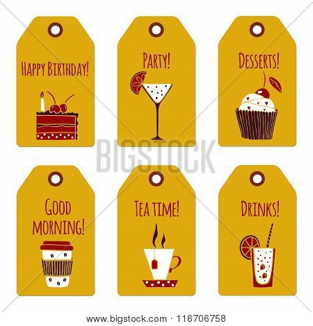 Drinks and dessert tags