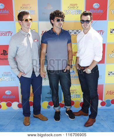 Nick Jonas, Kevin Jonas and Joe Jonas at the Variety's Power Of Youth held at the Paramount Studios in Hollywood, USA on September 15, 2012.
