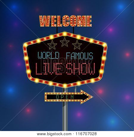 Shining background retro light banner with the word live show