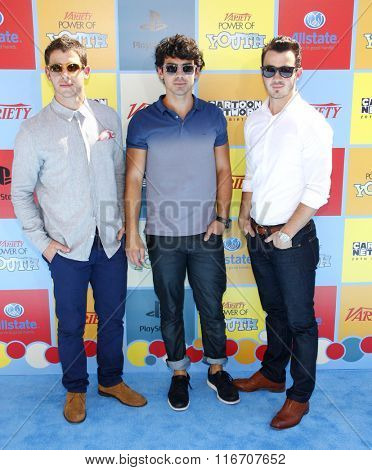 Kevin Joans, Nick Jonas and Joe Jonas at the Variety's Power Of Youth held at the Paramount Studios in Hollywood, USA on September 15, 2012.