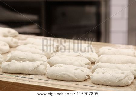 Bread before placing in hot oven.