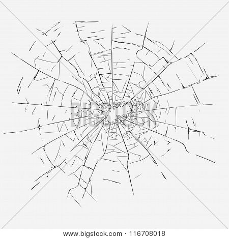 Cracks, broken glass vector