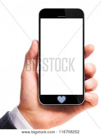 modern smartphone with heart in male hand isolated on white background
