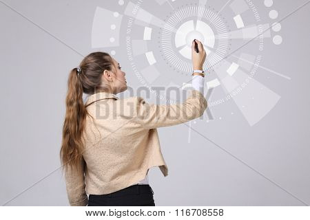 Future technology. Woman working with futuristic interface