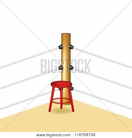 Boxing corner with red wooden stool