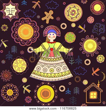 Shrovetide wallpaper with abstract pattern and girl