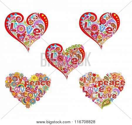 Heart shape for hippie design print