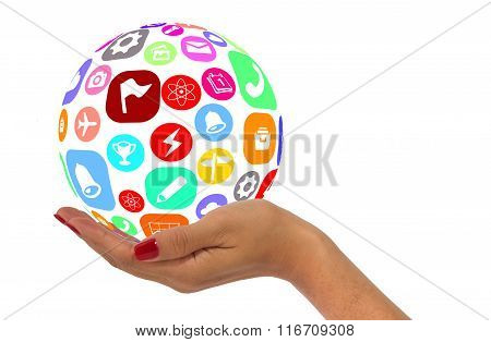 Woman Hand Holding Sphere With App Icons