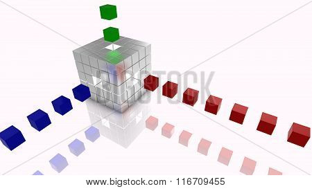 Big Data Cubes Concept Illustration Silver, Blue,red And Green