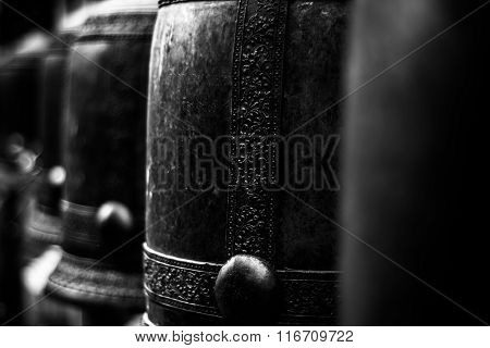 The Bells In Buddhism Temple, Thailand - Monochrome Hight Contrast Style