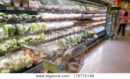Abstract Blurred Photo Of Store With Trolley In Department Store Background