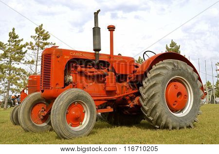 Restored Case tractor on display