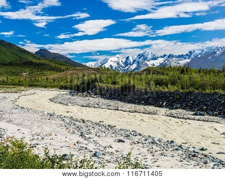 Glacier Stream In The Alaska Range