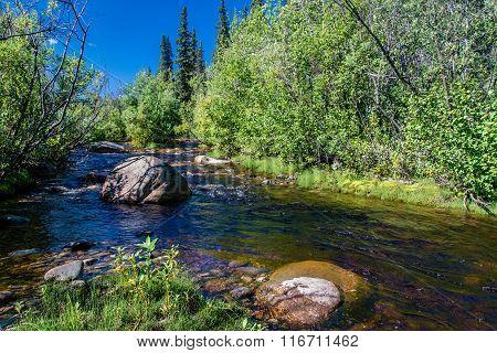 Boulder On An Small Alaskan Stream