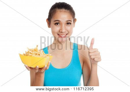 Asian Healthy Girl Eat  French Fries Show Thumbs Up
